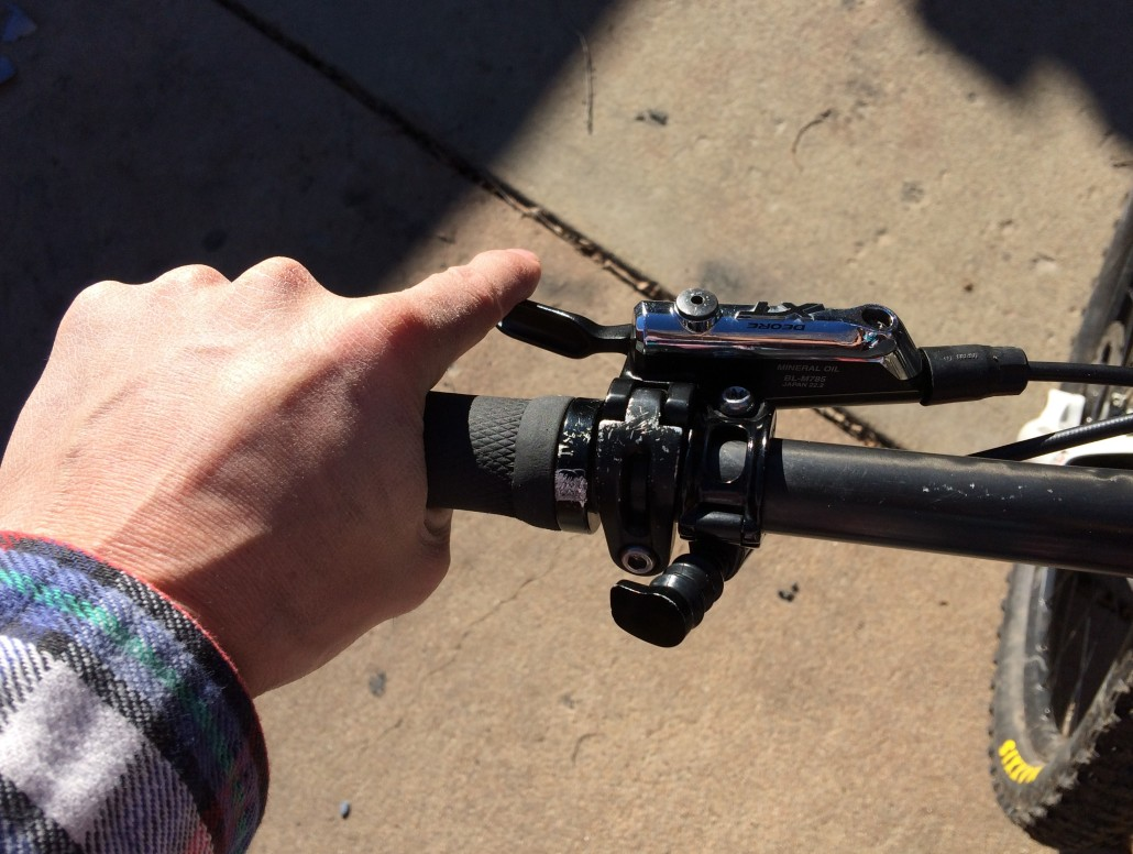 These two photos show the rider being able to easily reach the Remote Lever , (no front shifter because of the 1x drive train set-up).