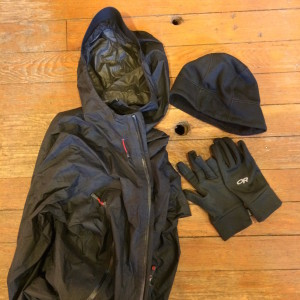H20-proof/resistant jacket that WILL keep you dry. Warm, moisture-wicking hat and gloves... Most peeps pack the jacket; Trust me, you'll want the hat and gloves at some point.
